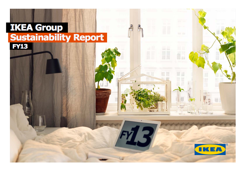 The cover of the IKEA Group Sustainability Report for financial year 2013.