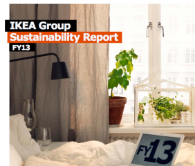 A close-up of the cover page for the IKEA Group Sustainability Report FY13