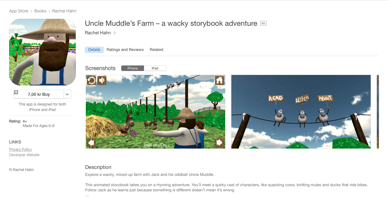 A screenshot of Uncle Muddle's farm when it was available on iTunes.