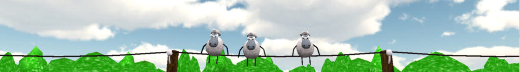 Sheeps on the telephone wire from Uncle Muddle's Farm, a story by Rachel Hahn
